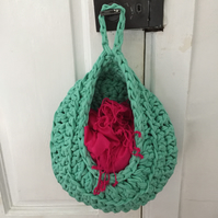 Crochet hanging basket made with upcycled tshirt yarn - aqua green