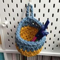 Small crochet hanging basket, pegboard basket - mustard and denim blue