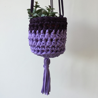 Crochet hanging planter - purple - free UK shipping