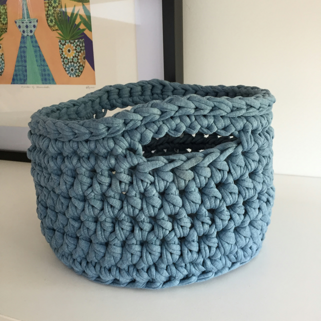 Crochet basket made with upcycled tshirt yarn - denim blue