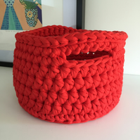 Crochet basket made with upcycled tshirt yarn - red