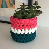 Crochet plant pot cover made with upcycled tshirt  yarn - pink and teal mini