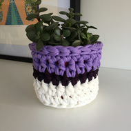 Crochet plant pot cover made with upcycled tshirt  yarn - purple mini