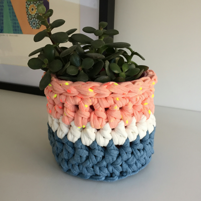 Crochet plant pot cover made with upcycled tshirt yarn - neon spots mini