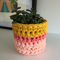 Crochet plant pot cover made with upcycled tshirt yarn - pink and mustard mini