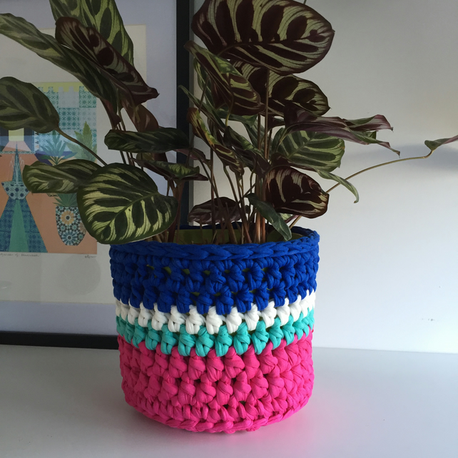 Crochet plant pot cover made with upcycled tshirt yarn - cobalt blue large