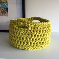 Crochet basket made with upcycled tshirt yarn - mossy yellow