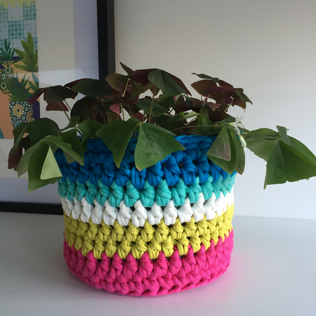 Crochet plant pot cover made with upcycled tshirt yarn - blue large