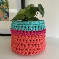 Crochet plant pot cover made with upcycled tshirt yarn - turquoise medium