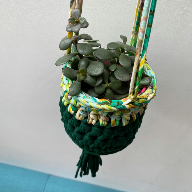 Crochet hanging planter - green and tropical print - free UK shipping