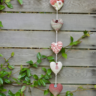 Red & white handmade hanging padded fabric hearts string garland