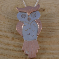 Sterling Silver and Copper Owl Necklace