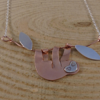 Copper and Sterling Silver Sloth Necklace