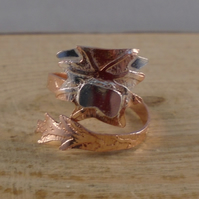 Copper and Sterling Silver Highland Cow Adjustable Ring