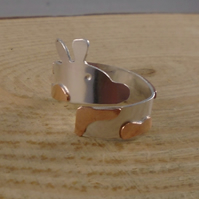 Sterling Silver and Copper Giraffe Adjustable Ring