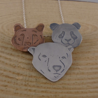 Sterling Silver and Copper Three Bear Heads Necklace