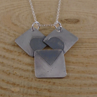 Sterling Silver Heart Squares Necklace
