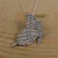 Sterling Silver Etched Butterfly Necklace