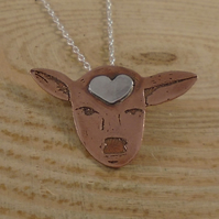 Copper and Sterling Silver Jersey Cow Necklace