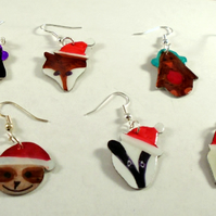 Aluminium Novelty Week of Christmas Earrings Animal Set 2