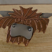 Copper and Sterling Silver Highland Cow Pin Brooch