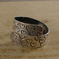 Sterling Silver Stamped Heart Adjustable Ring