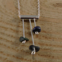 Sterling Silver Tube Gemstone Chips Necklace