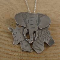 Sterling Silver Safari Heads Necklace