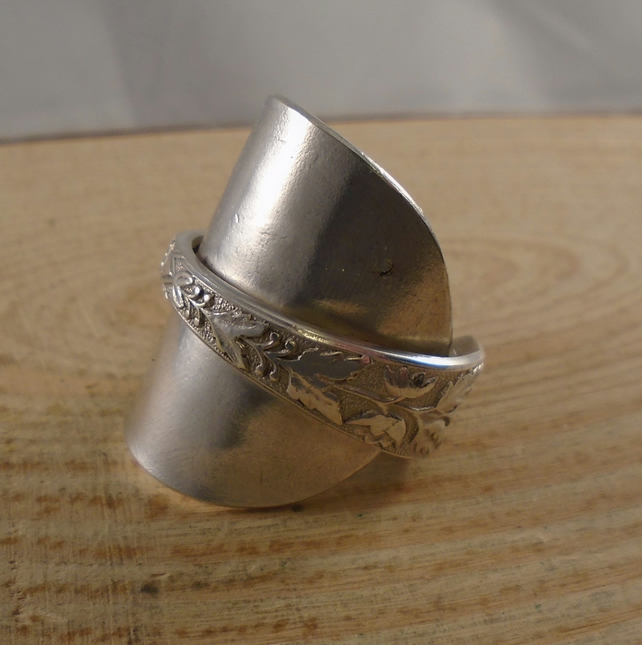 Upcycled Silver Plated Sunflower Wrap Spoon Ring SPR112014