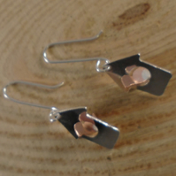 Sterling Silver and Copper Bird House Earrings