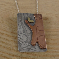Sterling Silver, Copper and Brass Half Tiger Face Necklace