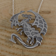 Sterling Silver Etched Dragon Necklace