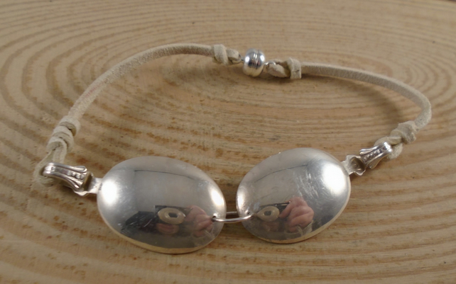 Upcycled Silver Plated Double Spoon Bowl Leather Bracelet SPBA032107