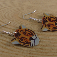 Anodised Aluminium Tiger Drop Earrings AAE042103