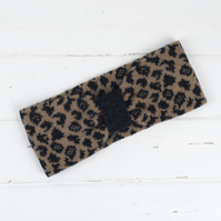 Leopard knitted headband - camel
