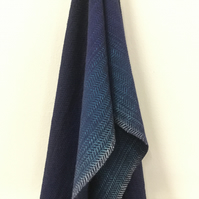 Hand Woven Merino Lambswool Herringbone Deep Blue Sea Scarf