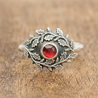 Garnet Engagement Ring - Oak Leaf Garnet Ring - Silver Garland Ring