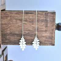 Oak Leaf Drop Earrings - Silver Leaf Earrings - Handmade Drop Earrings