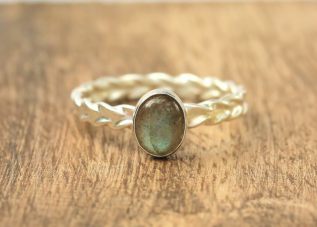Labradorite Stacking Ring - Silver Labradorite Ring - Labradorite Wheat Ring