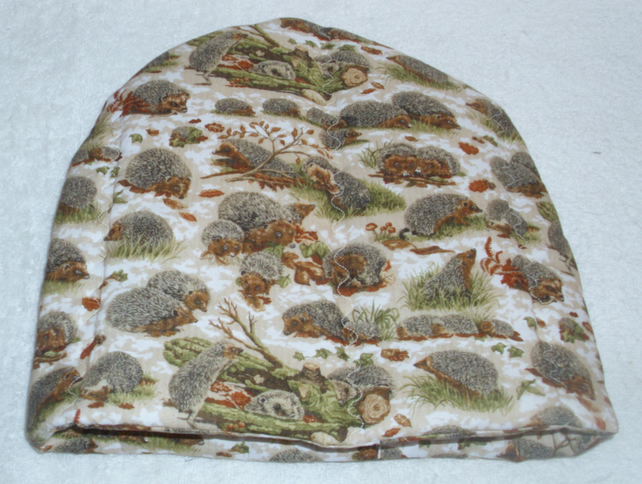 Hedgehogs in Autumnal leaves tea cosy