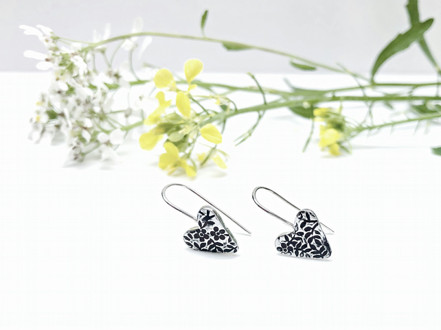Silver Floral Heart Earrings - botanical - pretty jewellery - feminine earrings