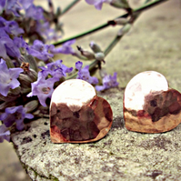 COPPER HEART EARRINGS - Autumn jewellery - fall jewellery - rustic - handmade