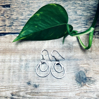 Stepping Stones - Silver earrings - uk craft - wonderfully wonky jewellery