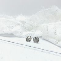 Fine Silver 'English Lace' ear studs. A beautiful gift for a beautiful lady.