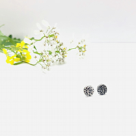 Floral - small ear studs - pretty jewellery - silver earrings - botanical gift