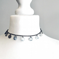 Choker Necklace - textured Silver - Sterling Silver - Handmade in UK - unique