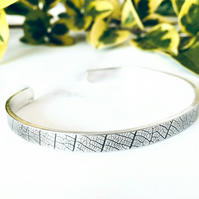 Leaf - handmade textured Silver cuff - Sterling Silver - Magic in the grass