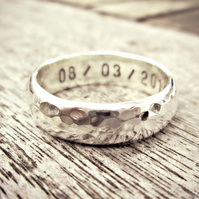 HAMMERED CHUNKY - solid Silver ring,words on inside, unisex, chunky wedding ring