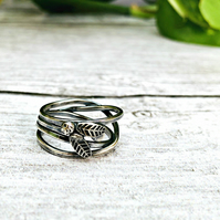 Twisted Vines - beautiful oxidised Silver ring - inspired by nature - handmade