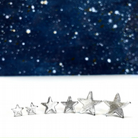 TWINKLE TWINKLE - ear studs - MEDIUM - Silver star studs - gifts for girls!